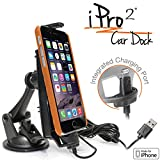 iBolt iPro2 MFI Approved Car / Desk Dock / Mount / Charger / for iPhone 5 / 5c / 5s / 6 / 6+ with integrated Lightning Cable – Retail Packaging – Black
