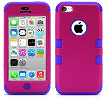 iPhone 5C Case, MagicMobile® Hybrid Impact Shockproof Cover Hard Armor Shell and Soft Silicone Skin Layer [ Hot Pink - Purple ] with Free Screen Protector / Film and Pen Stylus