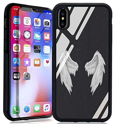 - Angel Wings iPhone 7 8 Case, TPU Hybrid Bumper+Thin Tempered Glass Back Cover Customized Angel Wings Design Protective Phone Case for iPhone 7 8-Black
