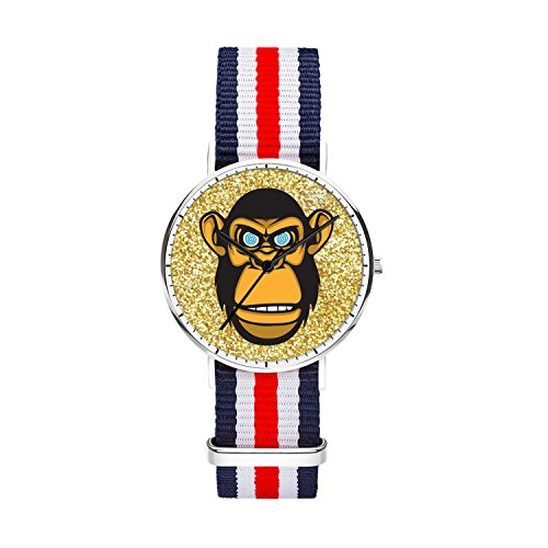 Women 36mm Stainless Steel Silver Classic Quartz gorilla Watch Blue White Red White Blue Nylon Replaceable Multi-Color Striped Nylon Band, Under 20 Dollar Amout