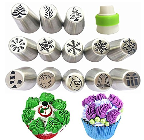 NEW Russian Piping Tips Xmas Design 14pcs/Set -13 Russian Tips +1 Coupler/ Large Size Icing Piping Nozzle - Bell Flower Tulip