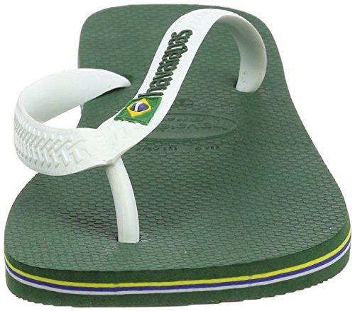 Havaianas Mens Brasil Logo Flip Flops, Vert Blanc Vert
