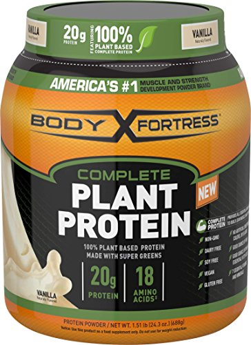 Body Fortress Vegan Plant Based Hemp and Pea Protein Powder, Gluten Free, Vanilla, 1.51 lbs 2020