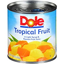 Dole Mixed Tropical Fruit in Light Syrup and Passion Fruit Juice, 15.25 Ounce Can (Pack of 12), All Natural Pineapple Red & Yellow Papaya in Passion Fruit Nectar, Pop & Peel Lid, Rich in Vitamin C