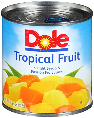 - Dole Mixed Tropical Fruit in Light Syrup and Passion Fruit Juice, 15.25 Ounce Can (Pack of 12), All Natural Pineapple Red Papaya & Yellow Papaya in Light Syrup & Passion Fruit Juice, Pop & Peel Lid