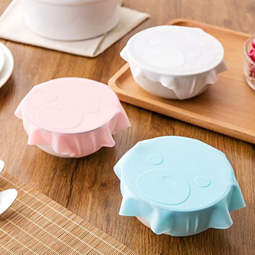 Gotian Bowl Lid Silicone Plastic Wrap Cover Reusable Silicone Cover Microwave Oven Refrigerator Fresh Bowl Seal Keep Food Fruits Vegetables Fresh and Clean (Pink)
