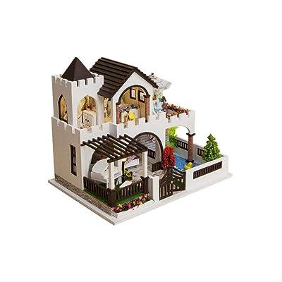 DIY Dollhouse, DIY Wooden Doll House Miniatura Kits Playset for niños y Adultos Castle Model Gift de cumpleaños Adecuado como Regalo y decoración del hogar para n: Juguetes y juegos