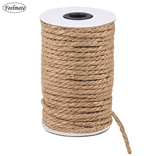 Feelmate 65Feet 6MM Thick Strong Jute Rope Natural Burlap Twine Hemp Cord for Arts Crafts DIY Decoration Gift Wrapping (Brown, 6MM)