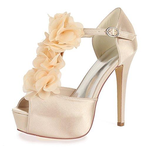 L@YC Women Wedding Shoes Kitten Satin 12.5cm Heel Buckle Evening Low Heels Like Heel High Bridal Chunky Champagne 6qDtD