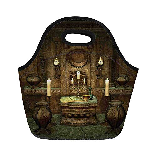 Altar Style Cabinet - Gothic Durable Lunch Bag,A Room with Altar in Fantasy Style Spells Spirituality Pentagram Symbols and Candles for School Office,11.0