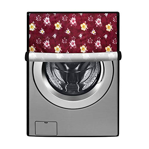 Stylista Washing Machine Cover Suitable for LG 7 kg FH2G6HDNL42 Fully-Automatic Front Load Floral Pattern Red