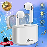 Wireless Earbuds, Bluetooth Earbuds Wireless Stereo Earphones with Mic, Mini in-Ear Earbuds with Charging Case, Sports Earbuds Earpiece w/Microphone for All Smartphones Android Samsung Huawei -White