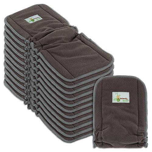 Naturally Natures Cloth Diaper Inserts 5 Layer - Insert - Charcoal Bamboo Reusable Diaper Liners with Gussets (Pack of 12) from Naturally Nature