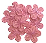 A-40, Flower Pink Iron On Patch 8 pieces Fabric Applique Motif Children Decal 1.6 x 1.6 inches (4.00 x 4.00 cm)