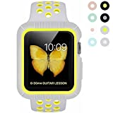 BRG Apple Watch Case with Band, Shock-proof and Shatter-resistant Protective Case with Silicone Sport iWatch Band for Apple Watch Series 2 Series 1 NIke+ Sport and Edition 38mm S/M, Pure Platinum/Volt
