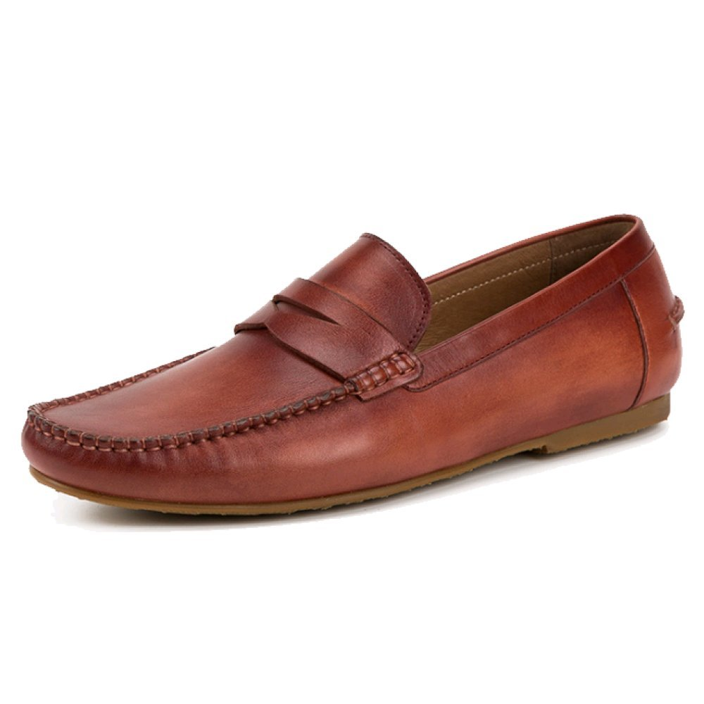 Oxford Calzado De Hombre Moda Casual Zapatos De Cuero Inglaterra Cuero Zapatos De Conductor Zapatos De Guisantes Transpirable Antideslizante 38 EU|Brown