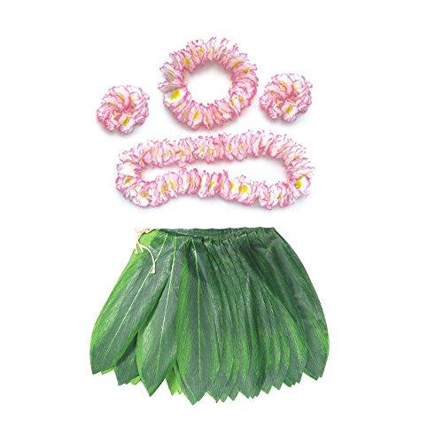 BOSHENG Hawaiian Hula Dancer Grass Skirt with Flower Costume Set (Hula Dancer Costume)