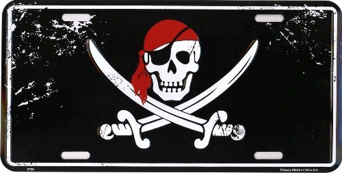 Pirate Head Metal License Plate 6 x 12