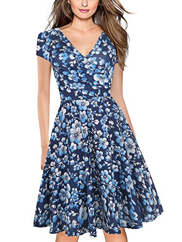 oxiuly Women's Vintage V-Neck Cap Sleeve Floral Casual Cocktail Party Swing Dress OX233 (XL, Blue - Floral Casual Blue Dress