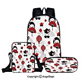 Fashion Backpack Set for School 3 in 1,Geisha Japanese Fan Ancient Chinese Traditional Tea Pot Lanterns Floral Graphic Design Decorative,Black Red,Three-piece Bag With Crossbody Pencil Bag
