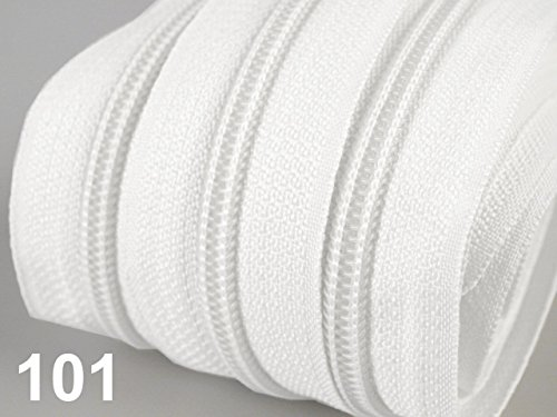 5m Reißverschluss endlos 3mm spiralförmig + 15 Zipper #101 weiss(0,79€/m)