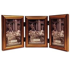 Lawrence Frames Antique Gold Wood Triple  4x6 Picture Frame - Classic Design