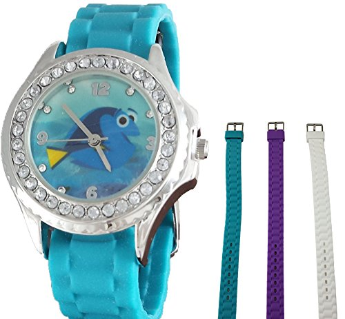 Disney Girls Finding Dory 3 Color Interchangeable Watch w/Stainless Steel Case and Rhinestones - Disney Interchangeable Watch