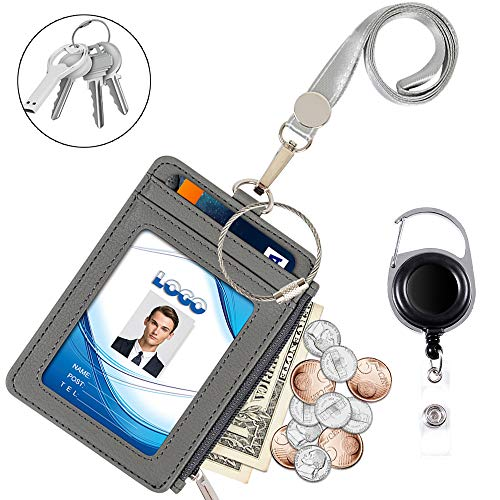 Badge Holder with Zipper, Life-Mate PU Leather ID Badge Card Holder Wallet Case with 5 Card Slots, 1 Side Zipper Pocket & 19