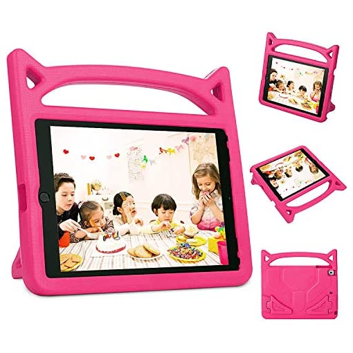 Vococal Fire 7 Case, Cute Kids Tablet Protective Case Cover with Handle Stand Compatible with Amazon Kindle Fire 7 2019 2017 2015 Pink