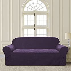 Comfy Bedding Microsuede Sofa Furniture Slipcover with Elastic Straps under Seat Cushion (Purple, Sofa)