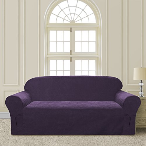 CLEAR OUT SALE  Elegant and Comfortable P&R Bedding Microsuede Sofa Furniture Slipcover (Purple, Sofa)