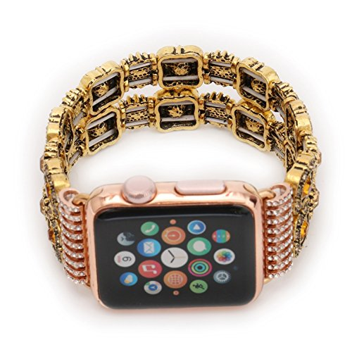 Juzzhou Band For Apple Watch iWatch Series 1/2/3 Sport Edition Style Elastic Stretch Woman Girl Bracelet Replacement Faux Pearl Jewels Wrist Strap Wriststrap With Stainless Steel Adapter Pink 38mm by Juzzhou (Image #1)