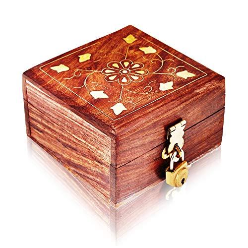 (Great Birthday Gift Ideas Handmade Decorative Wooden Jewelry Box With Free Lock & Key Jewelry Organizer Keepsake Box Treasure Chest Trinket Holder Lock Box Watch Box 4 x 4 Inch Anniversary Gifts Her)