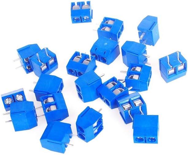 ANGEEK 2-Pin Pitch Screw Terminal Block Connector 5.08-301-2P Blue 20 pcs