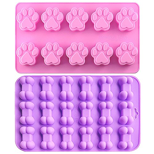 Food Grade Silicone Mold, IHUIXINHE Non-stick Ice Cube Mold, Jelly, Biscuits, Chocolate, Candy, Cupcake Baking Mould, Muffin pan (Puppy Paw & Bone 2PCS) ()