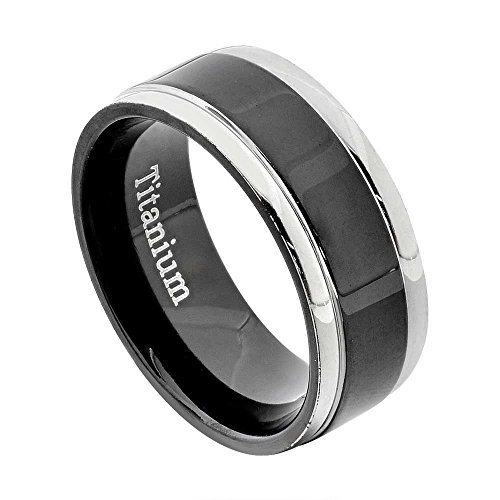 - FlameReflection 6mm Women's Titanium Ring Wedding Band Black Plated High Polish White Round Edge Grooved Size 7 SPJ