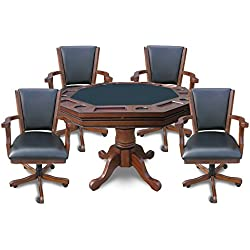 Hathaway Kingston 3-in-1 Poker Table with 4 Chairs, Walnut Finish
