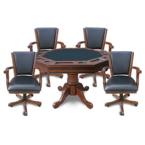 Hathaway Kingston 3-in-1 Poker Table with 4 Chairs, Walnut (Poker Table Chairs)