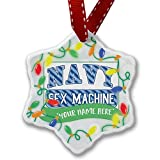 Personalized Name Christmas Ornament, NAVY Sex Machine, Blue stripes NEONBLOND