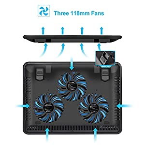 TECKNET Laptop Cooling Pad, Portable Slim Quiet USB Powered Laptop Notebook Cooler Cooling Pad Stand Chill Mat with 3 Blue LED Fans,Fits 12-17 Inch