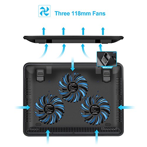 TECKNET Laptop Cooling Pad, Portable Slim Quiet USB Powered Laptop Notebook Cooler Cooling Pad Stand Chill Mat with 3 Blue LED Fans,Fits 12-17 Inch by TECKNET (Image #2)