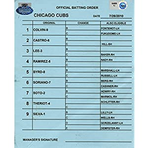 Chicago Cubs at Houston Astros 7 26 2010 Blue Game Used Line up Card (FJ034550)