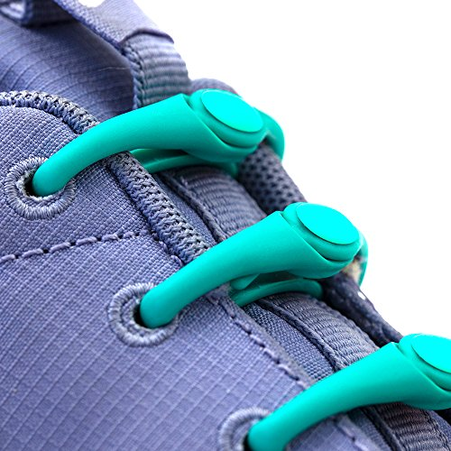 HICKIES 1.0 Elastic One Size Fits All Durable No-Tie Laces - Turquoise (14 Shoelaces, Works in All Shoes)