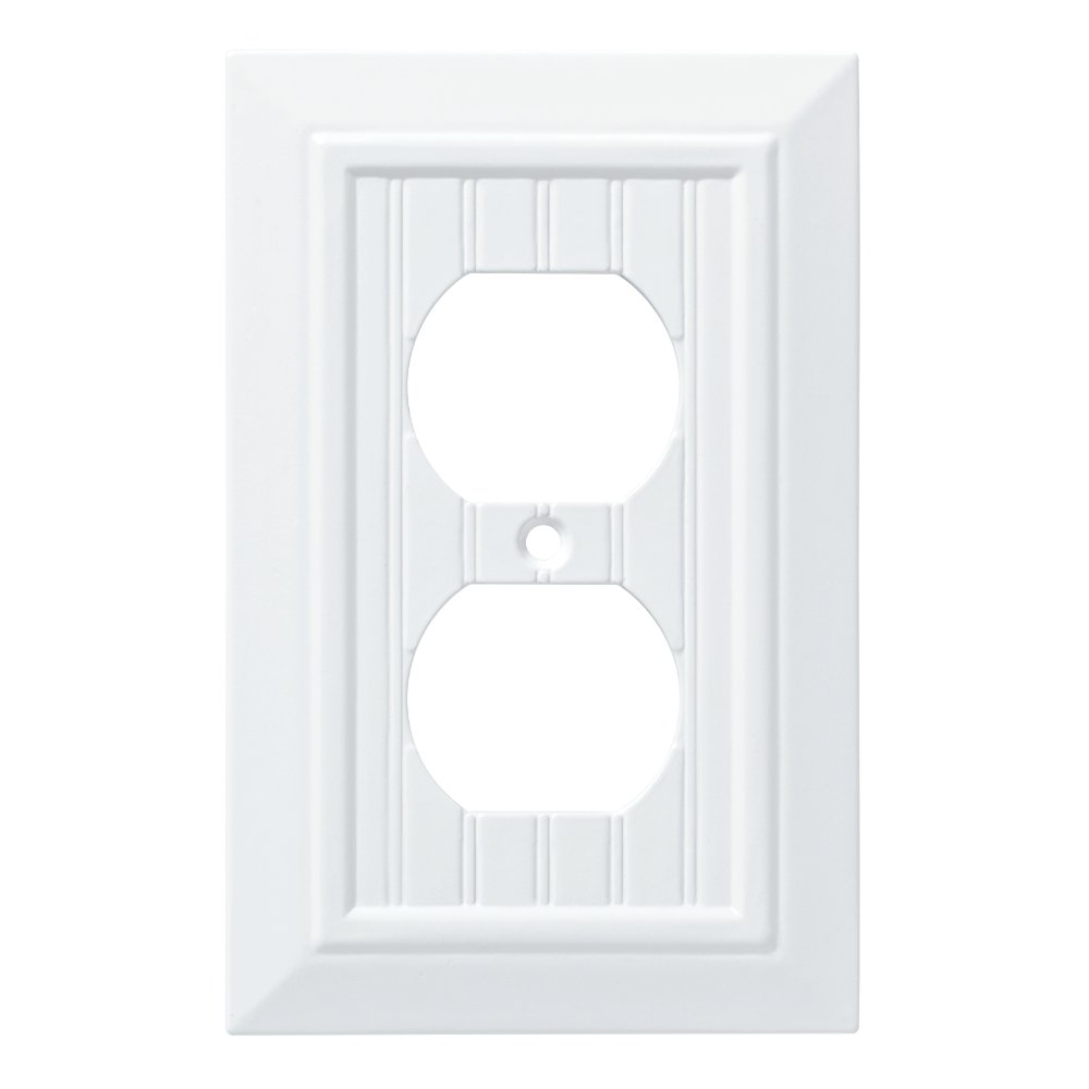 Franklin Brass W35266-PW-C Classic Beadboard Single Duplex Wall Plate/Switch Plate /N163:N192 Cover, Pure White