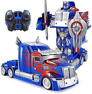 Auto modelo Uno y doce camiones Deformación Opttimus primer RC juguete transformable robot remoto Control360 juguete 10 Años Partido Old Boys cumpleaños del robot Camión velocidad de deriva Modelo ABS: Amazon.es: Hogar