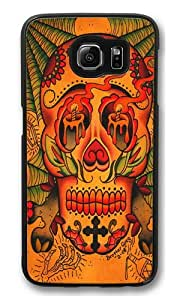 Day of The Dead Skull Polycarbonate Hard Case Cover for Samsung S6/Samsung Galaxy S6 Black