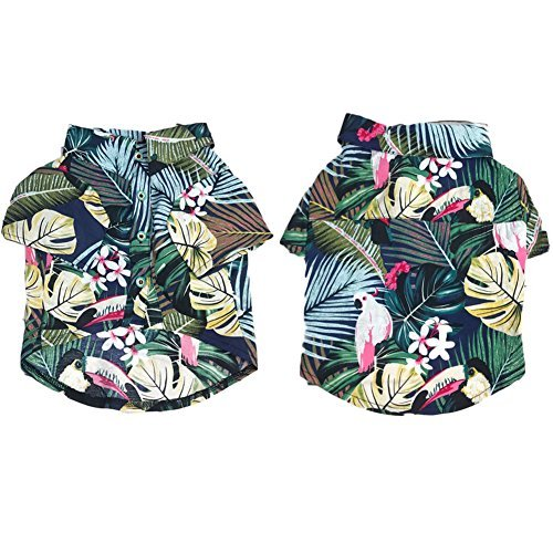 Meioro Pet Clothes Dog Clothes Comfortable Dog Shirt Hawaiian Style Seaside Resort Style Cotton Material Puppy French Bulldog Pug Blue-L