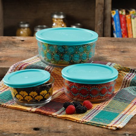 Pioneer Glass Bowls - The Pioneer Woman Flea Market 6 Piece Glass Storage Bowls with Lids