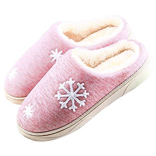 Maybest Unisex Inverno Comfort Caldo Foderato Foderato Traspirante Casa Pavimento Scarpe Da Donna Uomo Fiocco Di Neve Stampa Antiscivolo Pantofole Casa Coperta A-pink