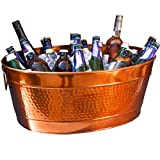 BREKX Aspen Hammered Stainless Steel Beverage Tub & Party Drink Chiller - Elegant Rose Copper Finish - Large